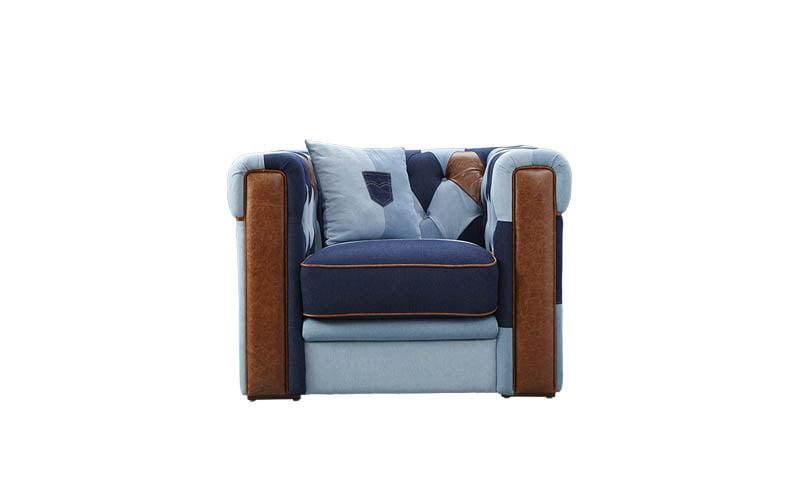 Napels patchwork denim fauteuil